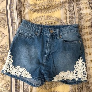 BDG Urban Outfitters Denim Shorts with Lace Hi-Ri
